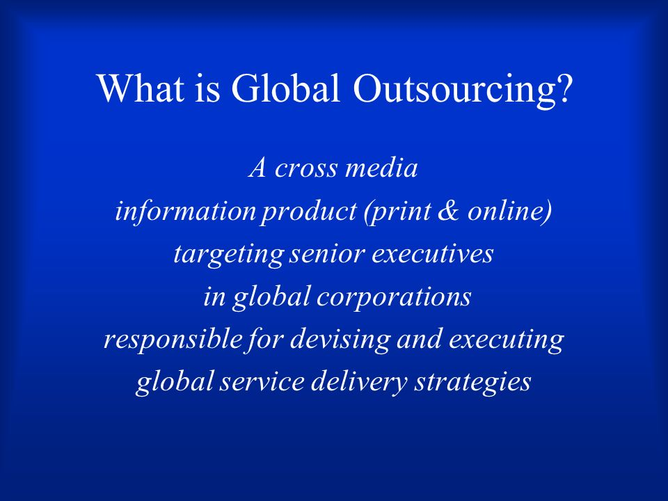 What is Global Outsourcing