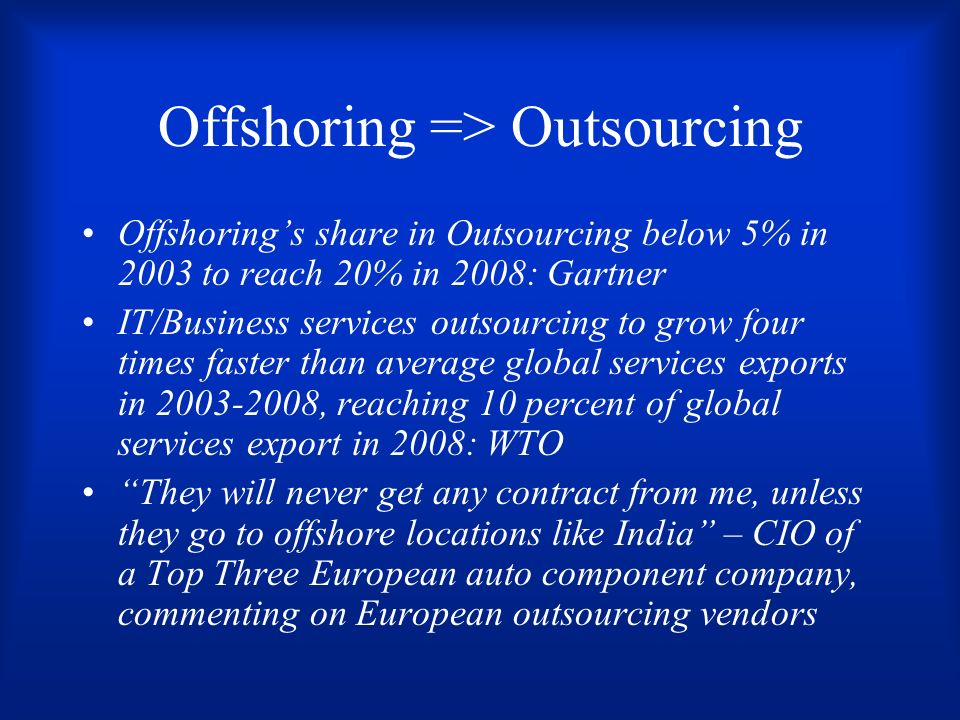 Offshoring => Outsourcing