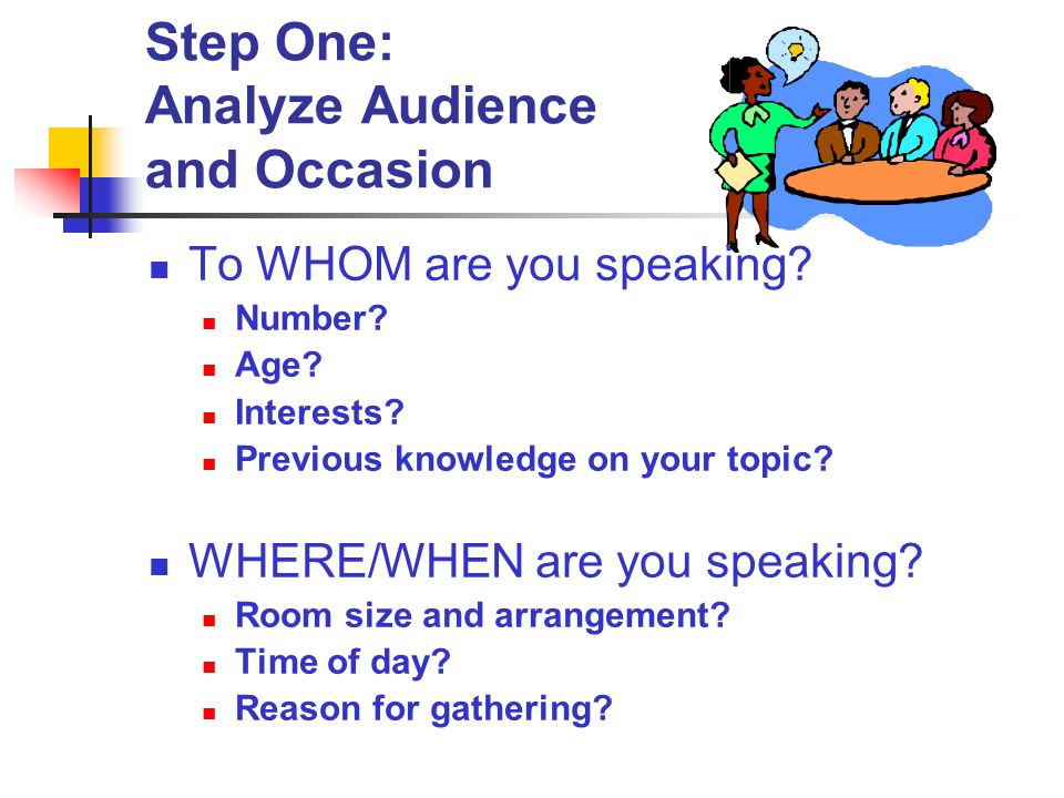 Step One: Analyze Audience and Occasion