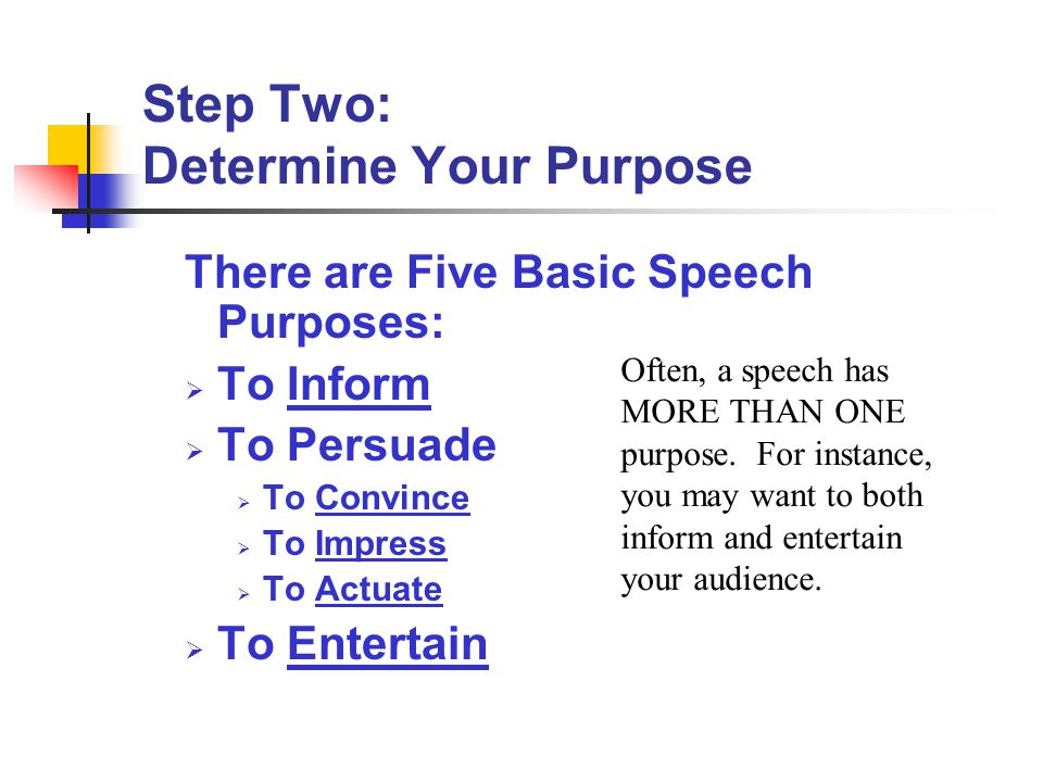 Step Two: Determine Your Purpose