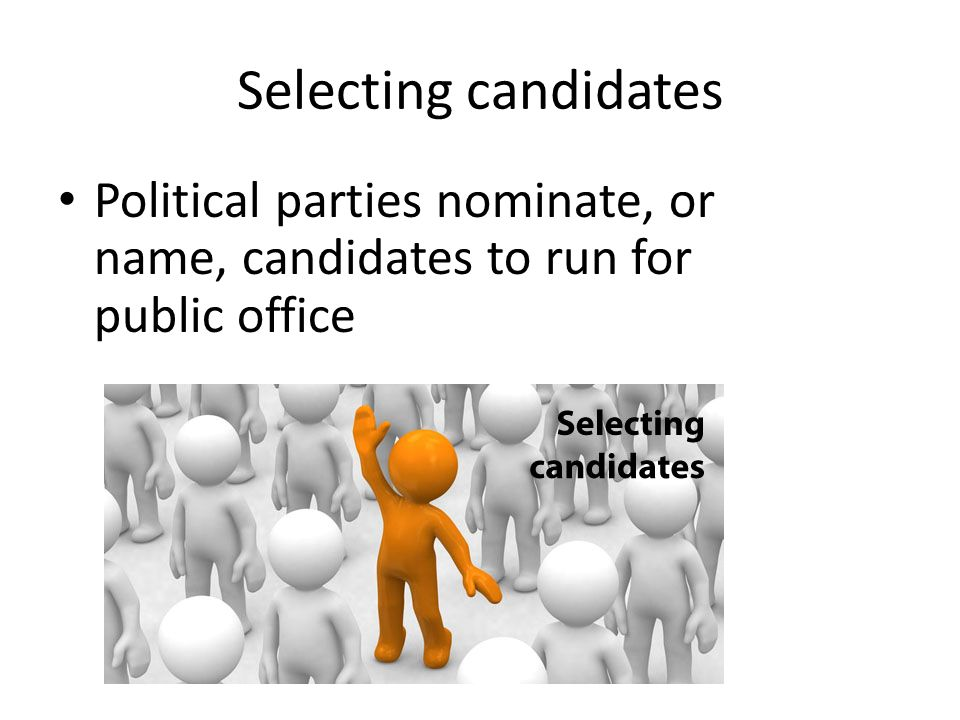 Selecting candidates Political parties nominate, or name, candidates to run for public office