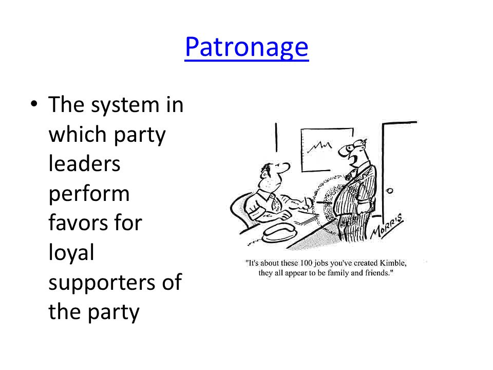 Patronage The system in which party leaders perform favors for loyal supporters of the party
