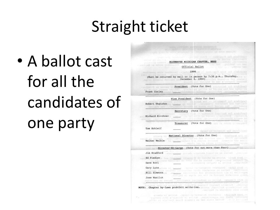 Straight ticket A ballot cast for all the candidates of one party