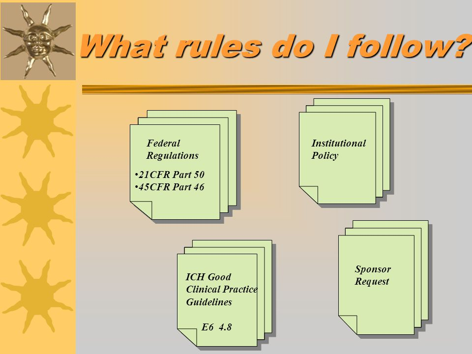 What rules do I follow Federal Regulations Institutional Policy
