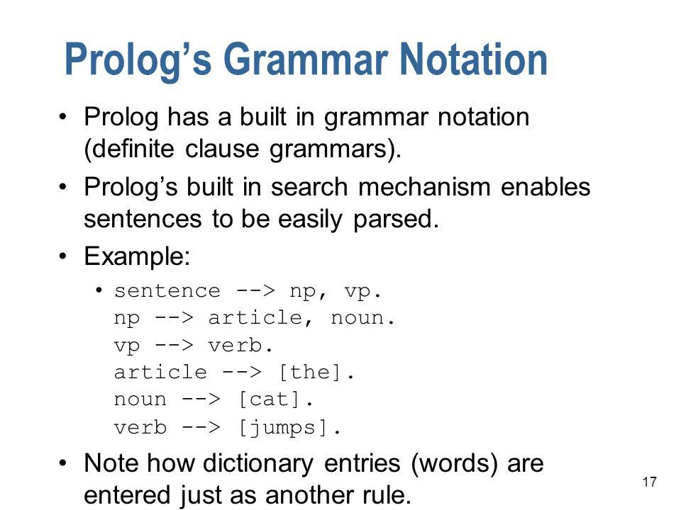 Prolog's Grammar Notation