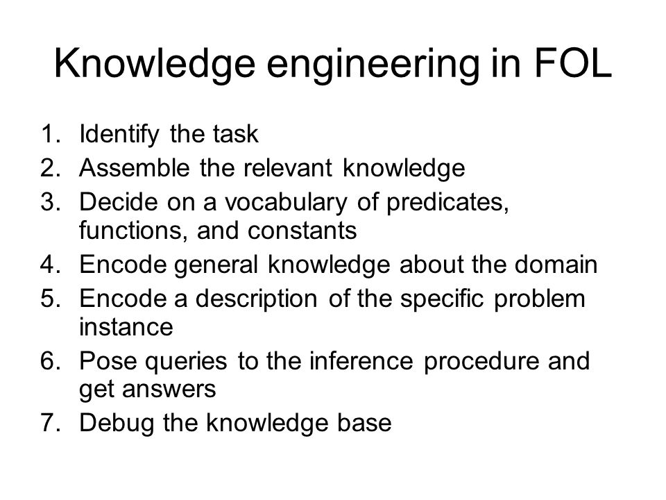 Knowledge engineering in FOL