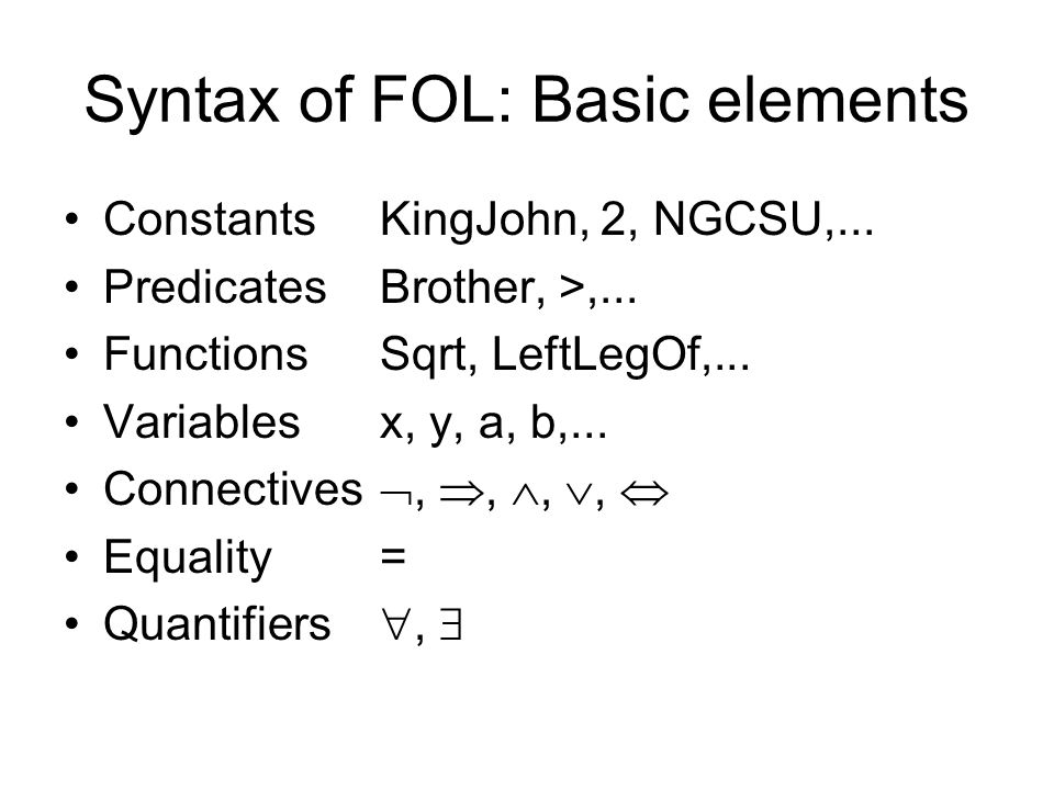 Syntax of FOL: Basic elements
