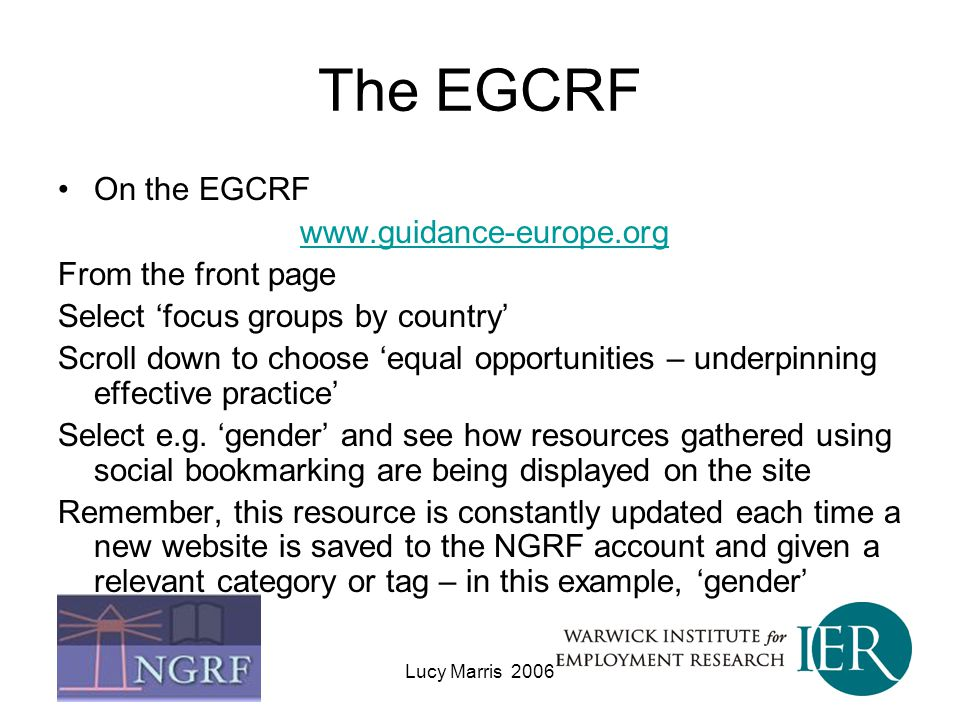 The EGCRF On the EGCRF www.guidance-europe.org From the front page