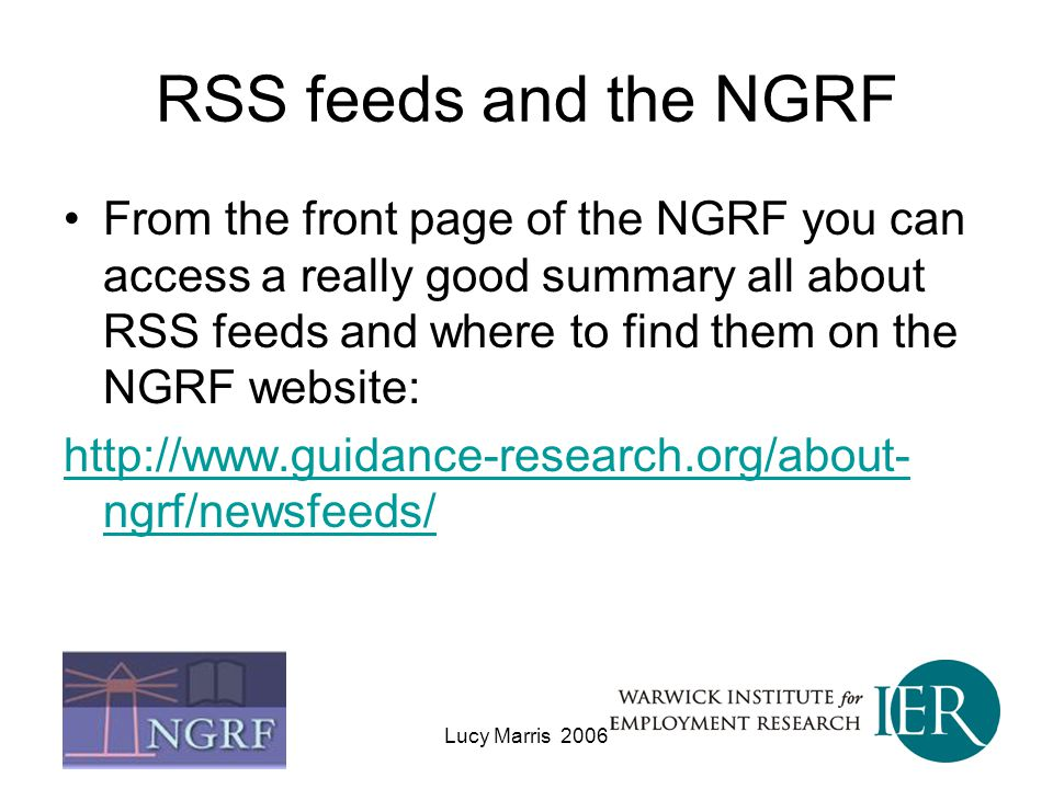 RSS feeds and the NGRF