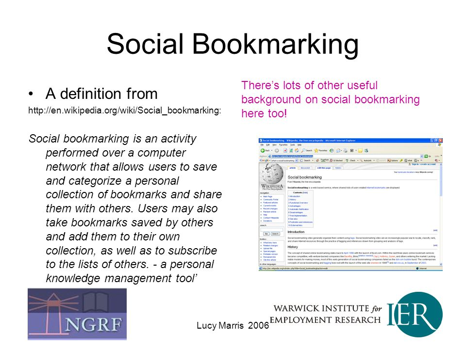 Social Bookmarking A definition from
