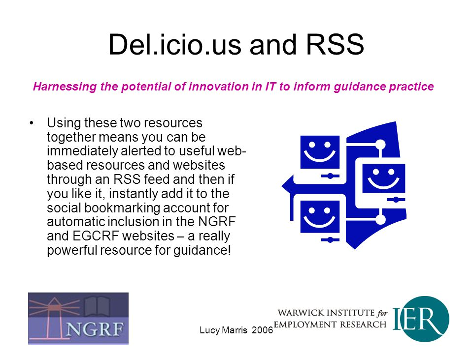 Del.icio.us and RSS Harnessing the potential of innovation in IT to inform guidance practice.