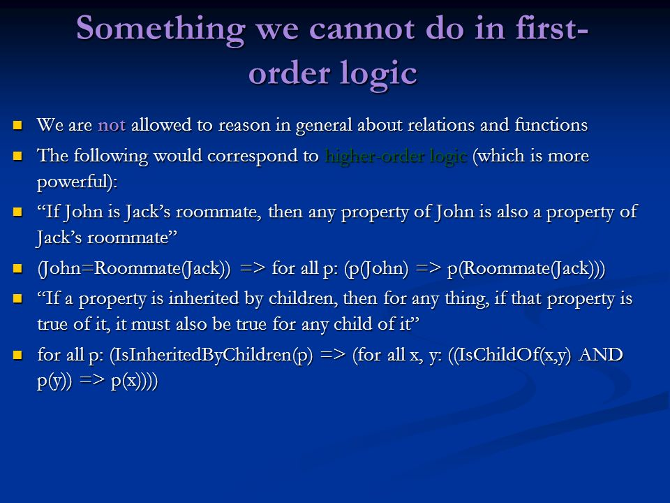 Something we cannot do in first-order logic