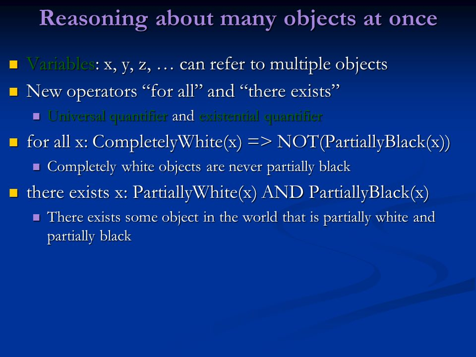 Reasoning about many objects at once