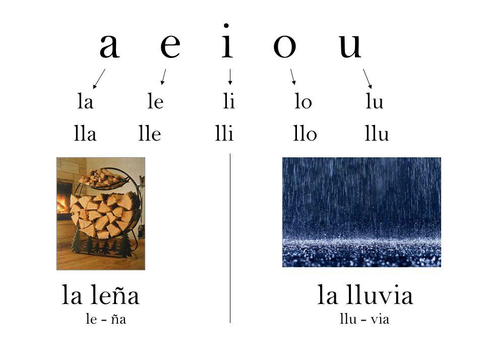a e i o u la leña la lluvia la le li lo lu lla lle lli llo llu le - ña
