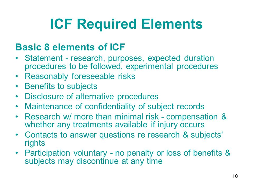 ICF Required Elements Basic 8 elements of ICF