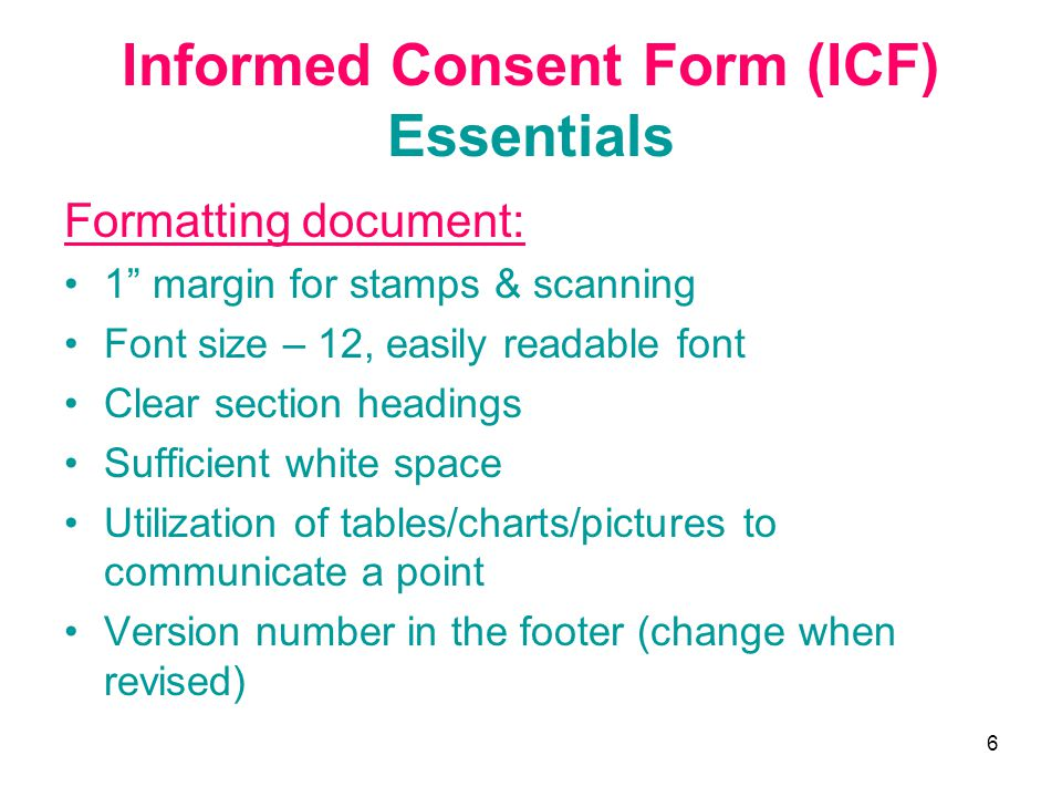 Informed Consent Form (ICF) Essentials