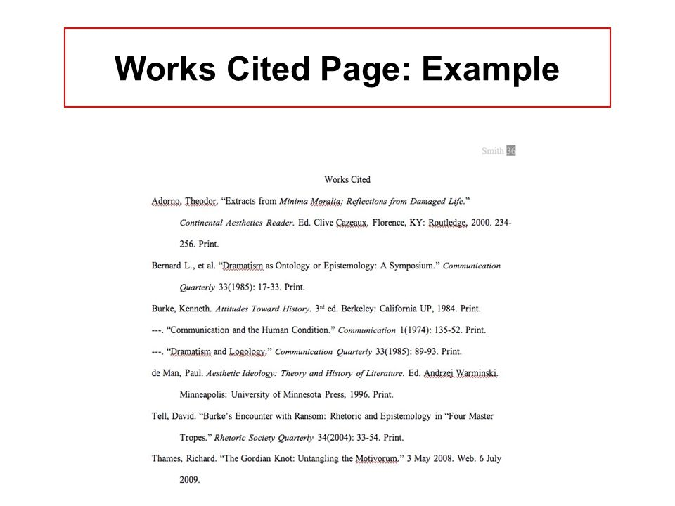 Works Cited Page: Example