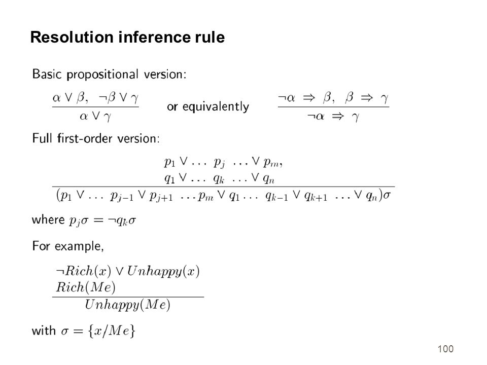 Resolution inference rule