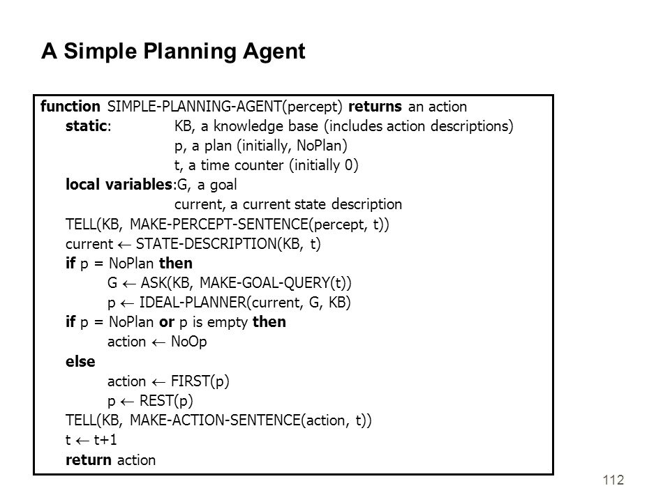 A Simple Planning Agent