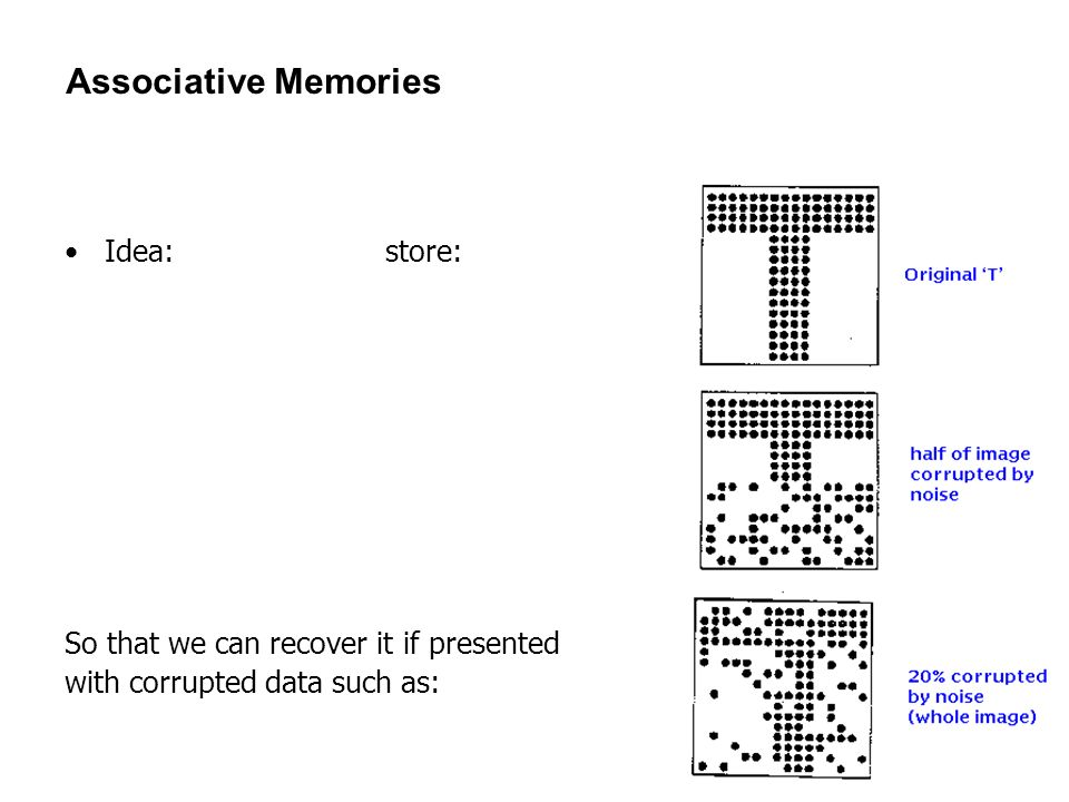 Associative Memories Idea: store: