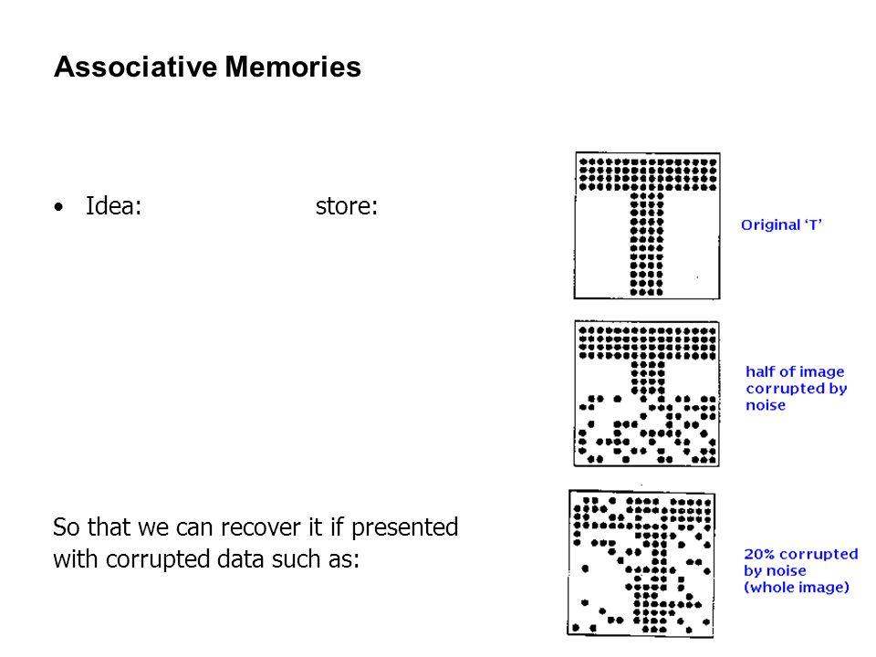 Associative Memories Idea: store: