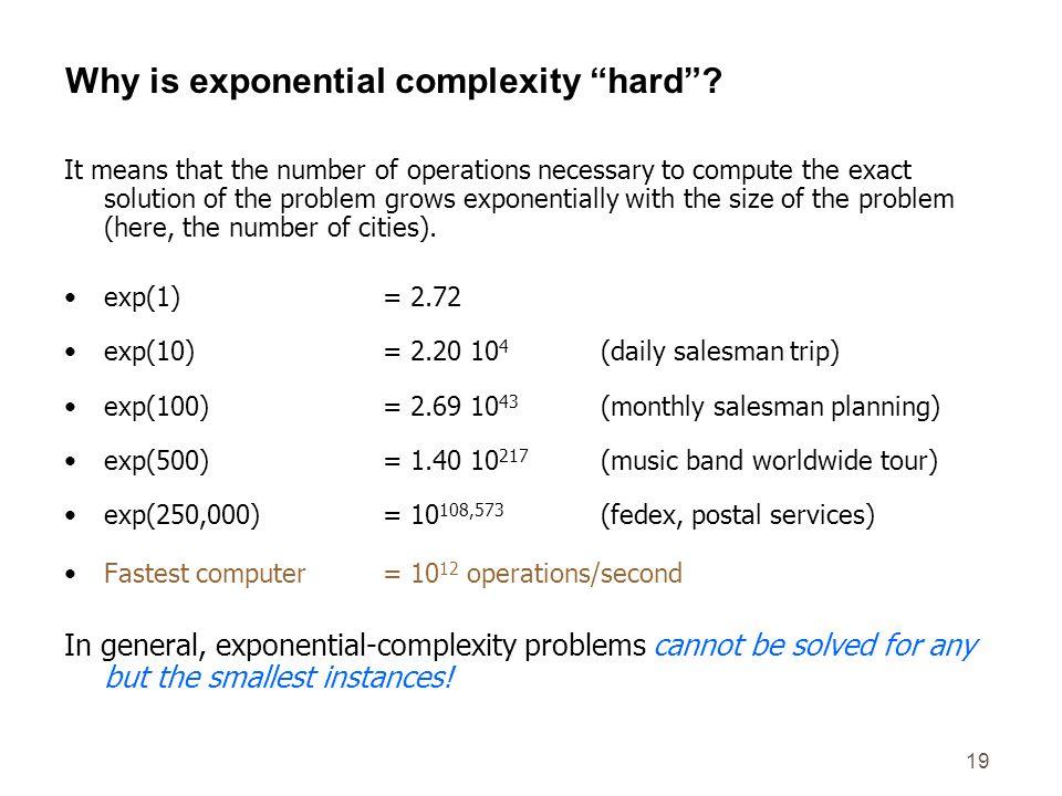 Why is exponential complexity hard