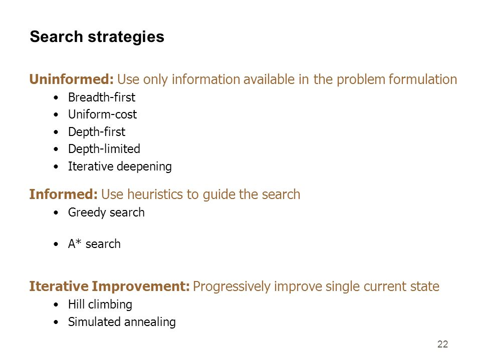Search strategiesUninformed: Use only information available in the problem formulation.