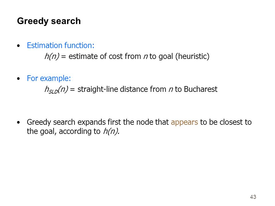 Greedy search Estimation function: