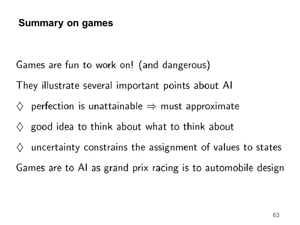 Summary on games
