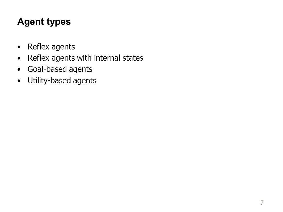 Agent types Reflex agents Reflex agents with internal states