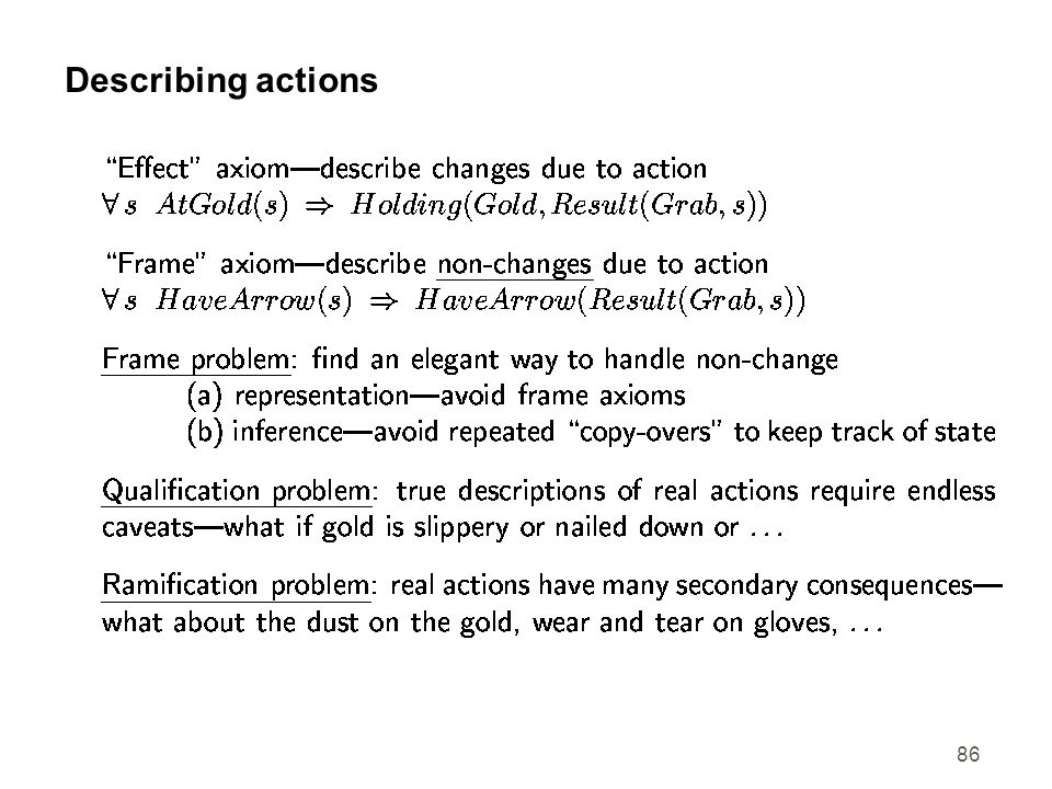 Describing actions