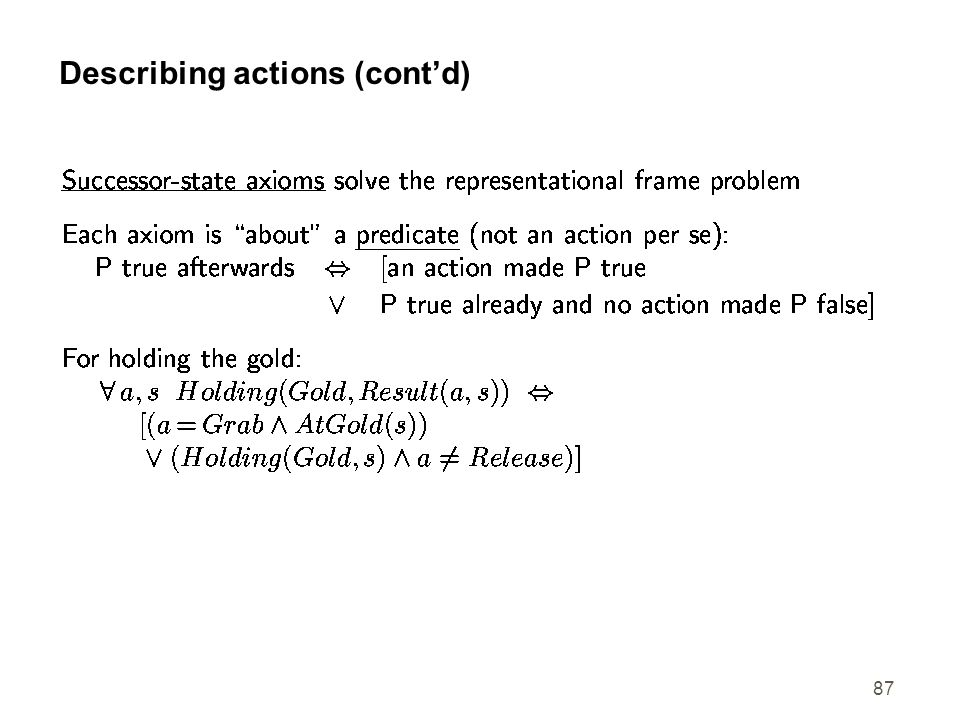 Describing actions (cont'd)