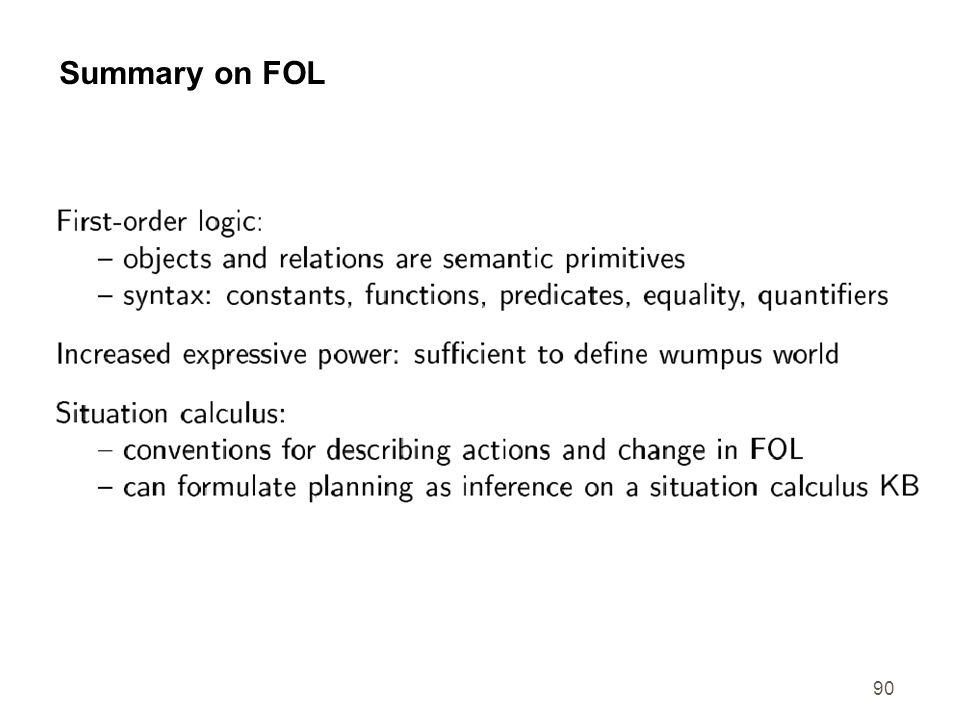 Summary on FOL