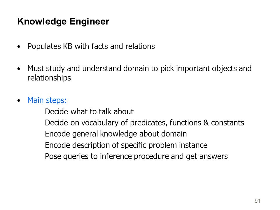 Knowledge Engineer Populates KB with facts and relations