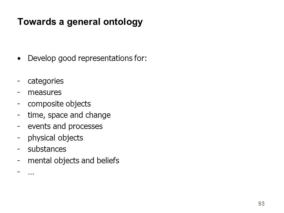 Towards a general ontology