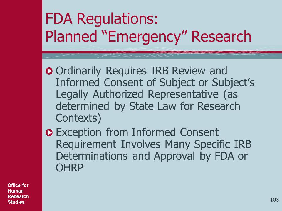 FDA Regulations: Planned Emergency Research