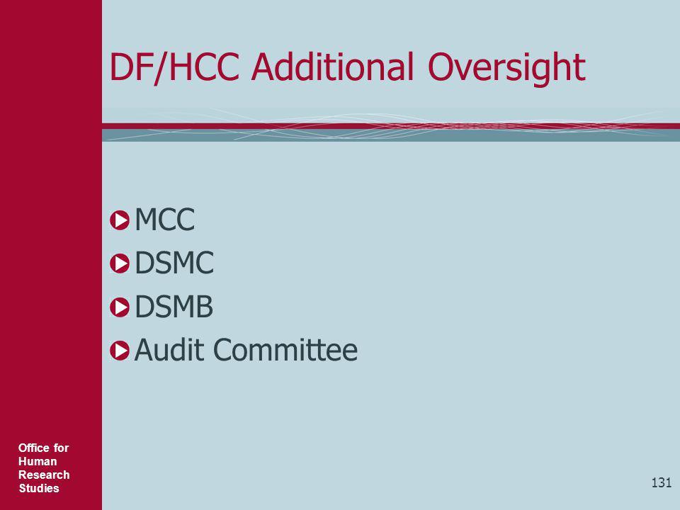 DF/HCC Additional Oversight
