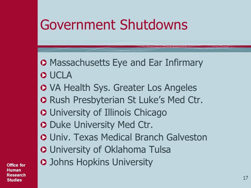 Government Shutdowns Massachusetts Eye and Ear Infirmary UCLA