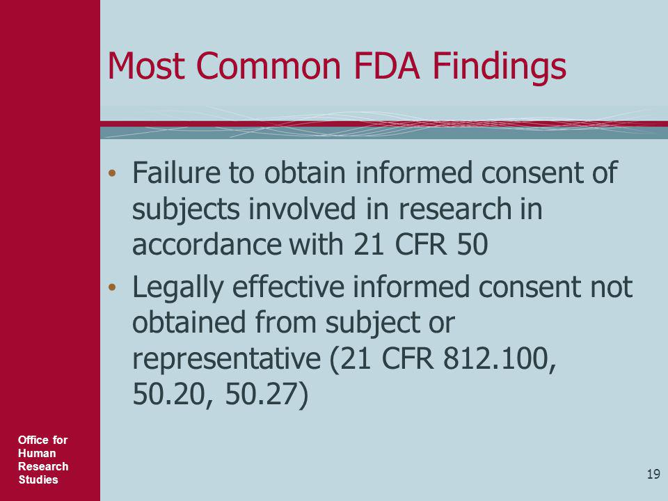 Most Common FDA Findings