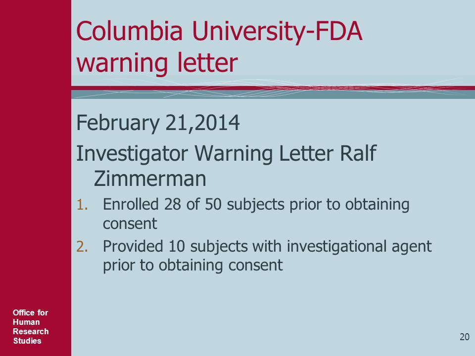 Columbia University-FDA warning letter