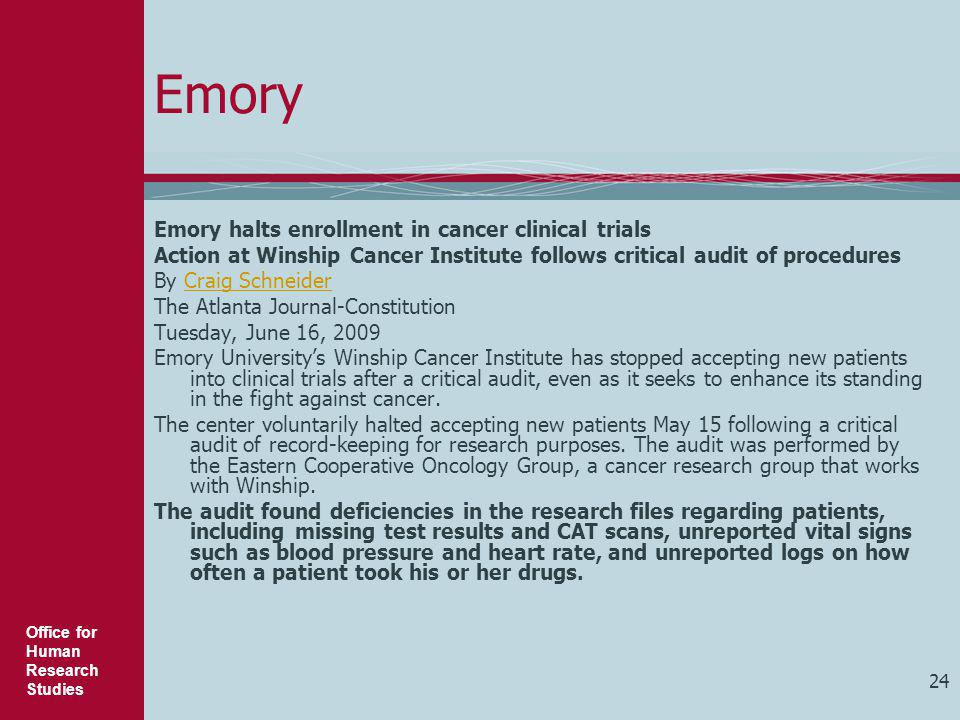 Emory Emory halts enrollment in cancer clinical trials