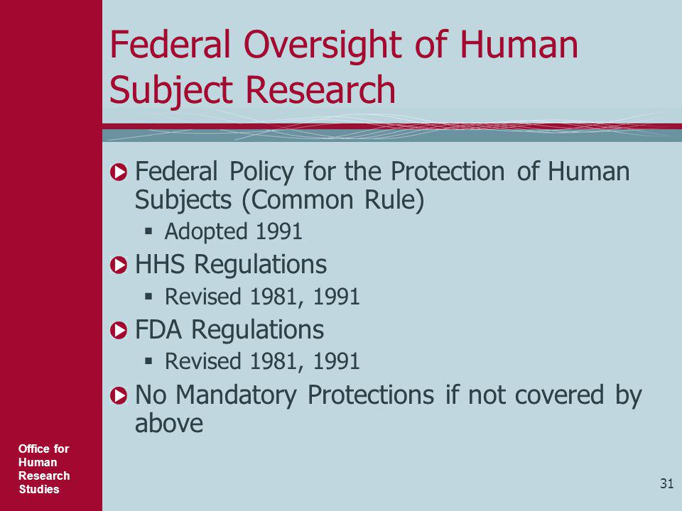 Federal Oversight of Human Subject Research