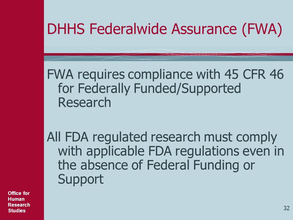 DHHS Federalwide Assurance (FWA)
