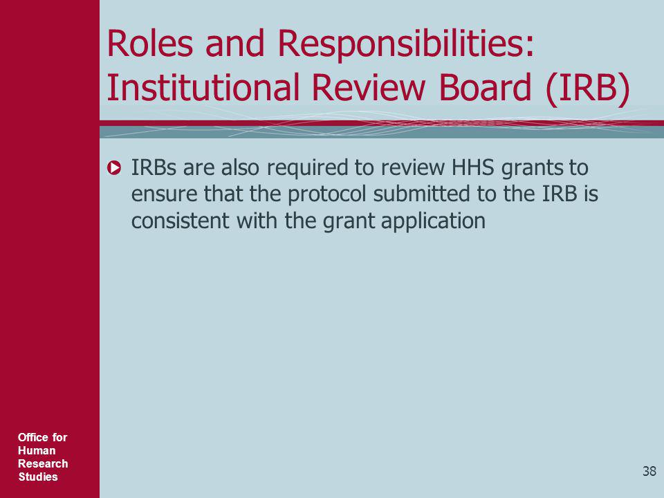 Roles and Responsibilities: Institutional Review Board (IRB)