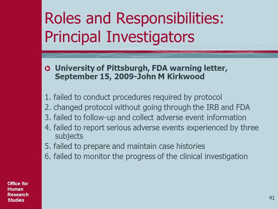Roles and Responsibilities: Principal Investigators