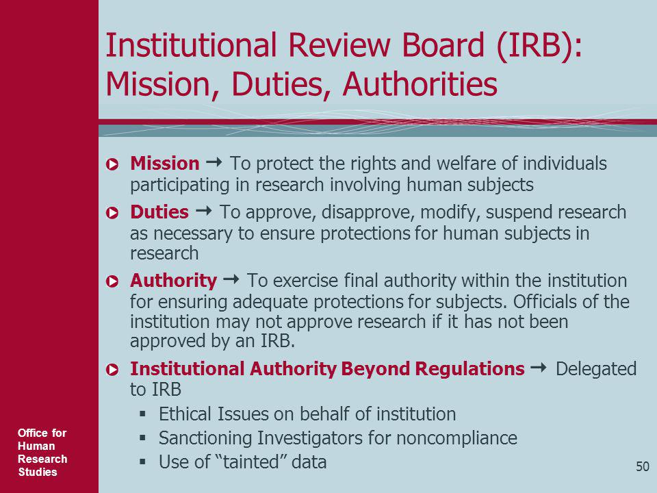 Institutional Review Board (IRB): Mission, Duties, Authorities