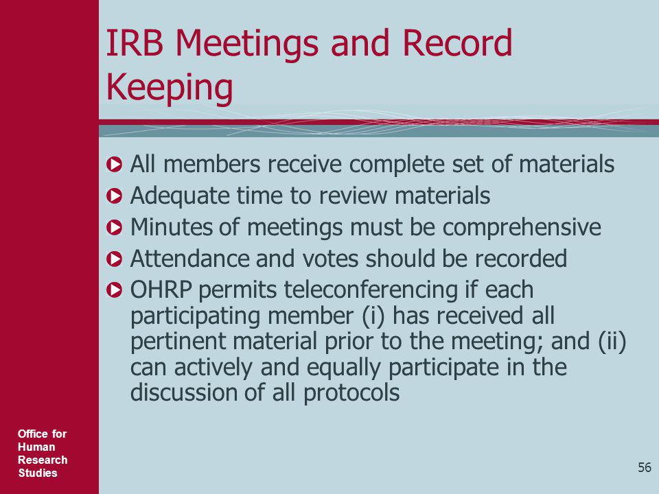 IRB Meetings and Record Keeping
