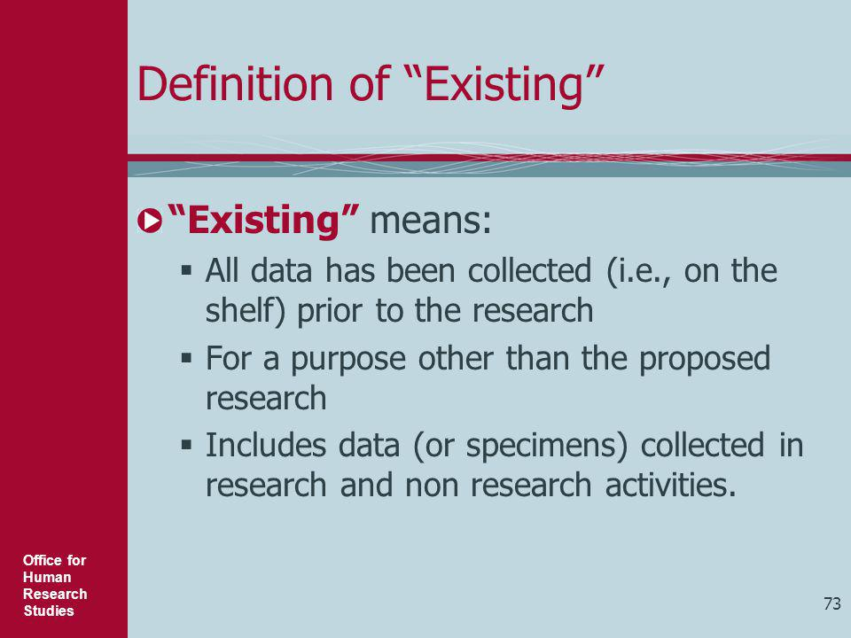 Definition of Existing