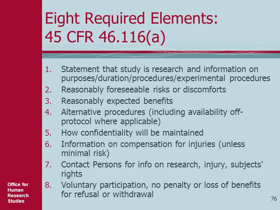 Eight Required Elements: 45 CFR 46.116(a)