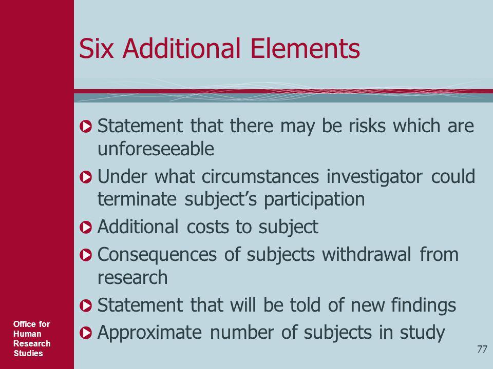 Six Additional Elements